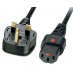 Power Cord IEC Lock 3x1.0mmsq C13-BS136313A (UK) 3m- Black